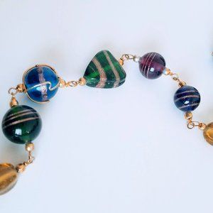 Wire Wrapped Colorful Glass Bead Long Necklace